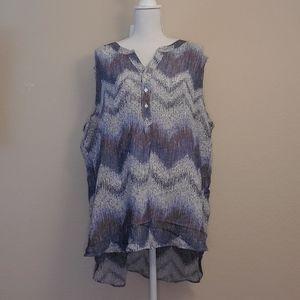 Fred David blue white short sleeve sheer blouse 2X